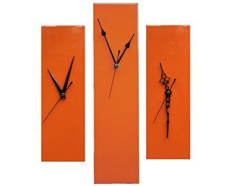 CLC Contemporary Slim Long Wall Clock ORANGE 30cm or 40cm