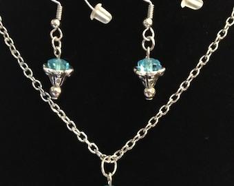 Light blue Rose Necklace Set
