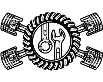 Mechanic Logo #23 Pistons Crossed Motor Engine Gear Wrench Tool Auto Car Part Biker Motorcycle Repair Service Shop .SVG .EPS .PNG Vector Cut