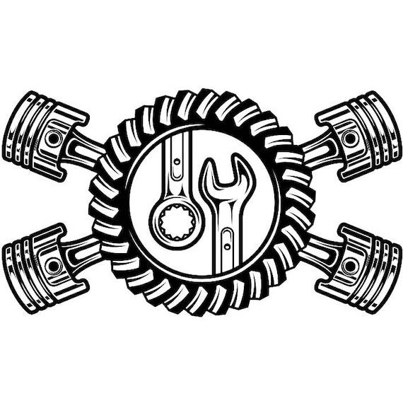 Mechanic Logo 23 Pistons Crossed Motor Engine Gear Wrench