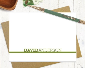 personalized stationery set - BOLD NOT BOLD name - set of 8 folded note cards - personalized stationary - choose color