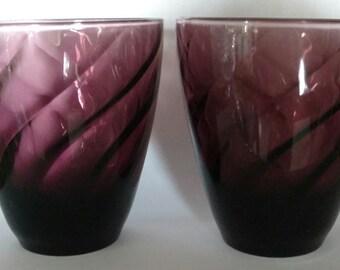 Antique purple juice glasses