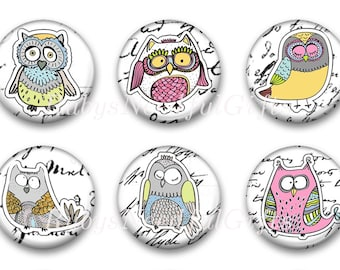 Magnets, Button Magnets, Fridge Magnets, Owl Magnets, 1 1/4 inch, Best friends gift, Hostess Gift, SET OF 6.