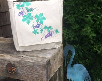 Wine lovers, handpainted  grapevine on light cotton canvas messenger bag, Wine glass, corkscrew crossbody or shoulder bag, adjustable strap.