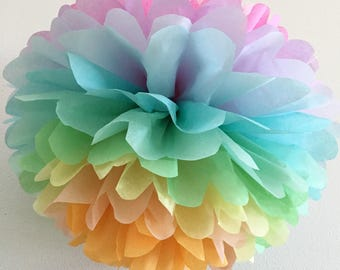 PASTEL RAINBOW tissue paper pompom unicorn party decorations girl first birthday photo prop baby bridal shower blush pink peach mint twin