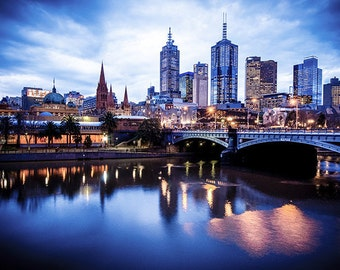 Melbourne City Photography Prints Flinders Street Wall Art Birthday Gift for Him Photo Art Blue Lounge Decor Travel Gift FREE POST AUSTRALIA