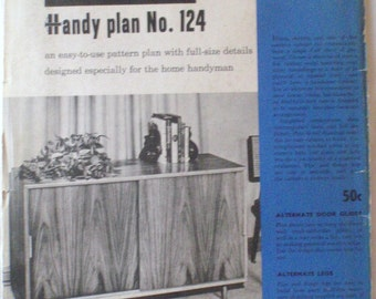 """Better Homes and Gardens Handy Plan 124, 1950's Woodworking Plans For A 48"""" Cabinet With Sliding Doors, Unopened"""