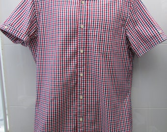 Short sleeved red, white and blue checked 'Oxford' style shirt (L)