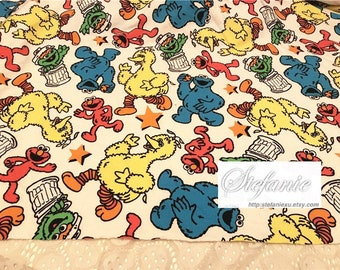 Cartoon Characters, Colourful Blue Red Elmo The Seasame Street Friends Stars On Natural White - Knit Cotton Fabric(17.7x51 Inches)