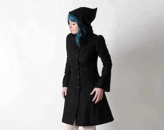 Black winter coat with Goblin Hood and tall collar, Black hooded coat, Black wool coat, Womens winter coat, Womens clothing, MALAM