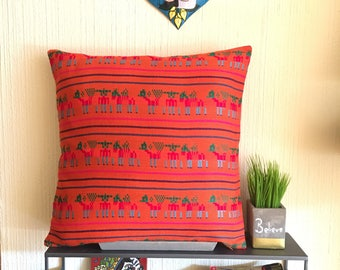 "Orange 16X16""/ 18X18""/ 20X20"" Pillow Cover Made with Traditional Mexican Fabric"