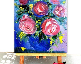 Roses painting, Palette Knife Oil Painting, Original painting, Flower wall art, Still life painting