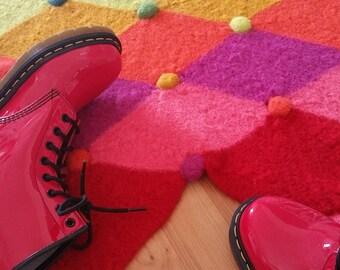 Crochet Pattern, Jolly Jester Felted Rug