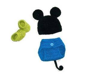 Newborn Halloween Costume, Baby Boy Costume, Boys Clothing Set, Baby Mouse Costume, Crochet Baby Set, Clothing Set, Photo Prop Clothes