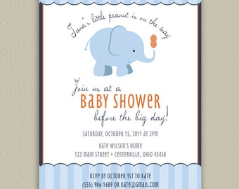 Our Little Peanut - Elephant Printable Baby Shower Invitation with Color Options