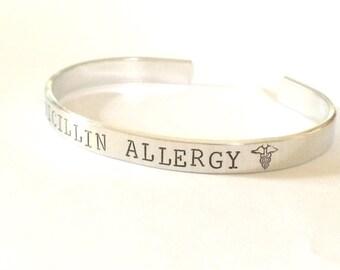 Medical alert bracelet - Hand stamped- Allergy Bracelet - Custom made to your medical alert