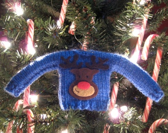 Mini Knitted Christmas Sweater Ornament in Blue Rudolph, Ugly Sweater, Holiday Decorations, Christmas Gifts, Reindeer, Ornaments, Handmade