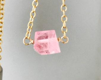 Pink Tourmaline Necklace Tiny Pink Necklace Raw Tourmaline Necklace Dainty Necklace  Healing Necklace Boho Necklace October Birthstone