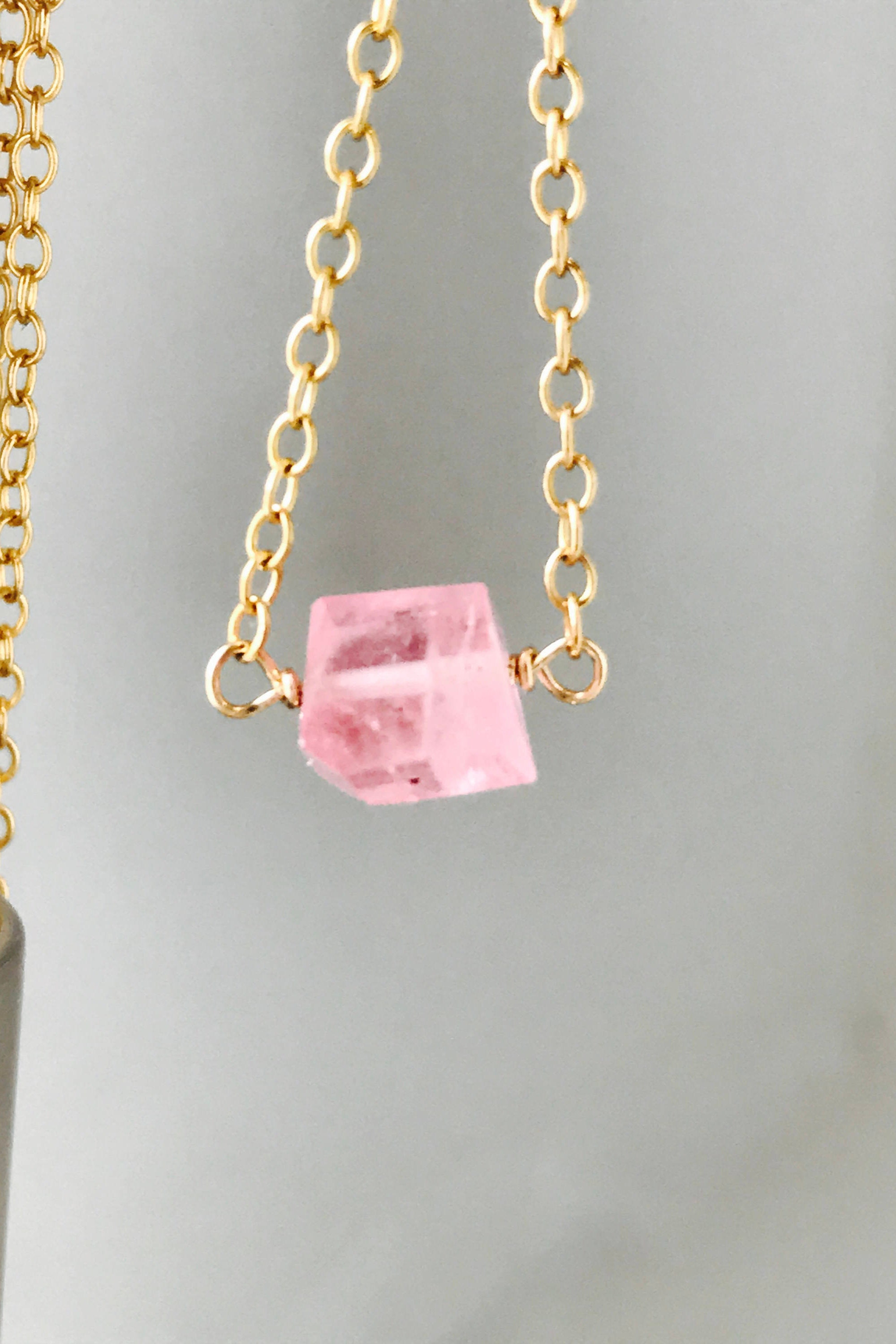 necklace lyst shana kolar pink diamond s pendant metallic gold tourmaline women gulati jewelry