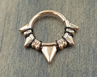 Triangles and Beads Rose Gold Septum Ring Rose Gold Daith Piercing Rook Earring Hoop