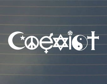 DECAL | Coexist, Coexist Decal, Car Decal, Spiritual Decal, Laptop Decal, Window Decal, Bottle Decal, Positive Decal, Laptop Sticker