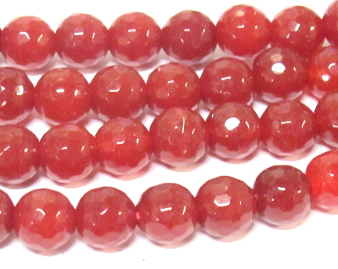 10 BEADS - Faceted maroon wine color dyed jade faceted gemstone beads 10 mm -  GM252K