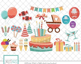 Birthday clipart , Cake clipart, vector graphics, party clipart, gifts clipart, celebration digital images