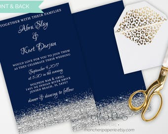 Navy and Silver Glitter Wedding Suite | Wedding Invitation | Wedding  | Navy and Silver | Printable Wedding Invitation Suite