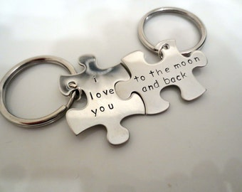 His and Hers Personalized Puzzle Piece Keychain - Couple -2 pieces- Hand Stamped Personalized Wedding Date Bridal Party  Gift Under 25 DW001