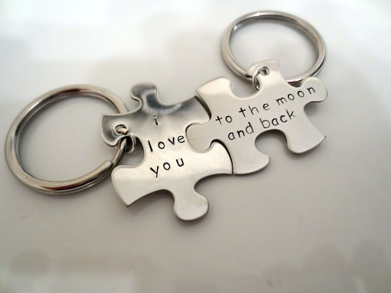 His And Hers Personalized Puzzle Piece Keychain Couple 2