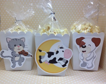 Hey Diddle Diddle, Mother Goose Nursery Rhimes Party Popcorn or Favor Boxes - Set of 10