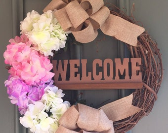 Spring Hydrangeas Pink, White, Purple, Welcome Wreath