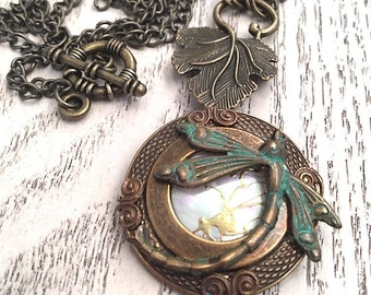 Brass Dragonfly Pendant Necklace, Victorian Necklace, Bohemian, Art Nouveau Jewelry