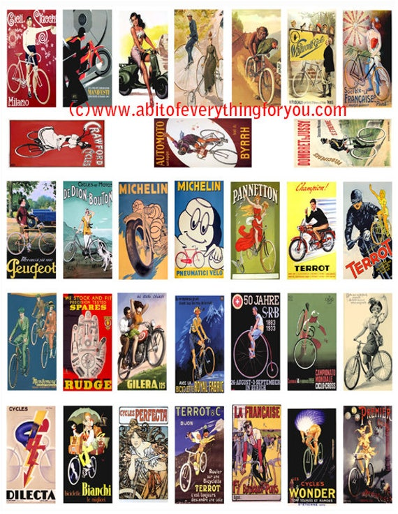 """vintage bike and motorcycle advertisements clipart digital download domino collage sheet 1"""" x 2"""" inch graphics images printables"""