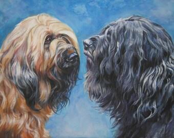 Briard dog portrait CANVAS print of LA Shepard painting 12x16 dog art