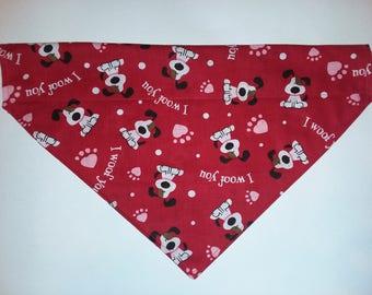 Red over the collar dog bandana, slip on dog bandana, Valentine's dog bandana, dog scarf, dog neck wear, dog collar, dog clothing