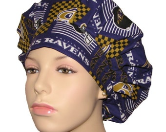 Scrub Hats For Women-Baltimore Ravens Patchwork Fabric-ScrubHeads-Scrub Caps-Bouffant Scrub Hat-Ravens Scrub Hat-Baltimore Scrub Hat