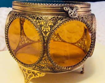 Rare Vintage Extra Large Gold and Amber Jewelry Casket Ormolu 6 Sided Beveled Glass Footed