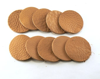 """1.5"""" Caramel Brown Leather Circles - 10 Die Cut Leather Circles - Leather Circle Appliques -  Leather Disks - Craft Leather Circles"""