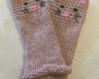 Cutest Mitts Ever - Adorable Kitty Cat Fingerless Gloves Hand-Knit in Pink