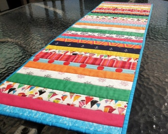 """Summer Quilted Table Runner, 12.5"""" X 39"""" Long Scrappy Table Topper Runner, Bright Nautical Blue, Pink, Green, Orange Runner"""
