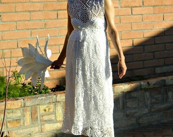 Crochet Lace Dress-Crochet Lace Dress in Handmade-Wedding Top-Bridal Separates-Je Suis Top-Chic Modern Bride-Hand Couture-Bride Collection