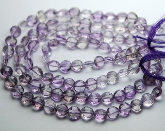 13 Inch Strand,Finest Quality,Natural Pink Amethyst Faceted Coins Beads,6mm