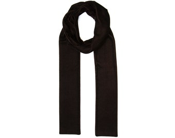 Brown velvet long skinny (thin) scarf