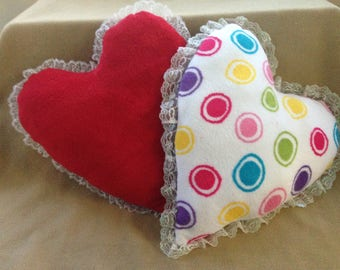 Heart Pillow with Lace Trim Red/Multi Color Polka Dots on One Side Handmade New