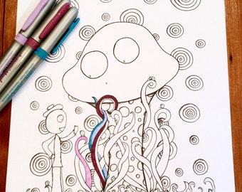 Doodle Story Creatures Coloring Page Mushroom Bugs Original Art Instant Download Fun Design