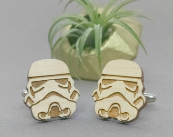 Star Wars StormTrooper Cuff Links - Laser Engraved on Maple Wood - Cufflinks Pair