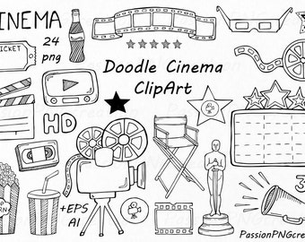 Doodle Cinema Clipart, Hand drawn cinema clip art, PNG, EPS, AI, vector, Movie Doodle Clipart, for Personal and Commercial Use