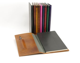 Small Leather Journal Cover for Moleskine Large Volant (5 x 8 1/4 inches)