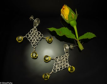 "Citrine chain-maille silver earrings ""Sunny day"""